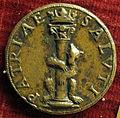 Scuola romana, medaglia di giulio III, orso che abbraccia una colonna.JPG
