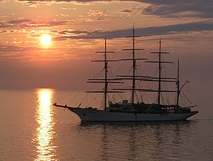 Sea Cloud - Sea Cloud at sunrise near Venice, August 2004