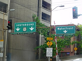 Washington State Route 99 - The last remaining US 99 sign in downtown Seattle, at the Columbia Street onramp to the Alaskan Way Viaduct until its removal in 2019