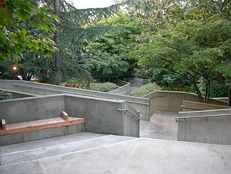 Freeway Park - The park winds its way down First Hill, offering both a staircase and wheelchair-accessible ramps.