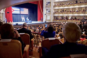Gran Teatro de La Habana - US Secretary of State John Kerry and others watch Barack Obama deliver a speech at the theater during the president's historic visit to Cuba