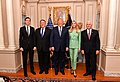 Secretary Pompeo Poses for Photo With Advisor Kushner, President Trump, Advisor Ivanka Trump and Vice President Pence (41854393881).jpg