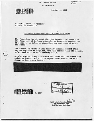 Presidential directive - Image: Security Considerations in Egypt and Sudan NARA 198178