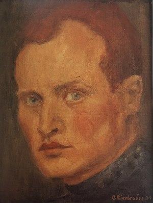 Adolf Bierbrauer - Adolf Bierbrauer, Self-portrait, oil on canvas on hard board relined, 28 cm x 21,5 cm,1939