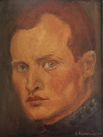 Adolf Bierbrauer - Adolf Bierbrauer, Self-portrait, oil on canvas on hard board relined, 28 cm x 21,5 cm,1939