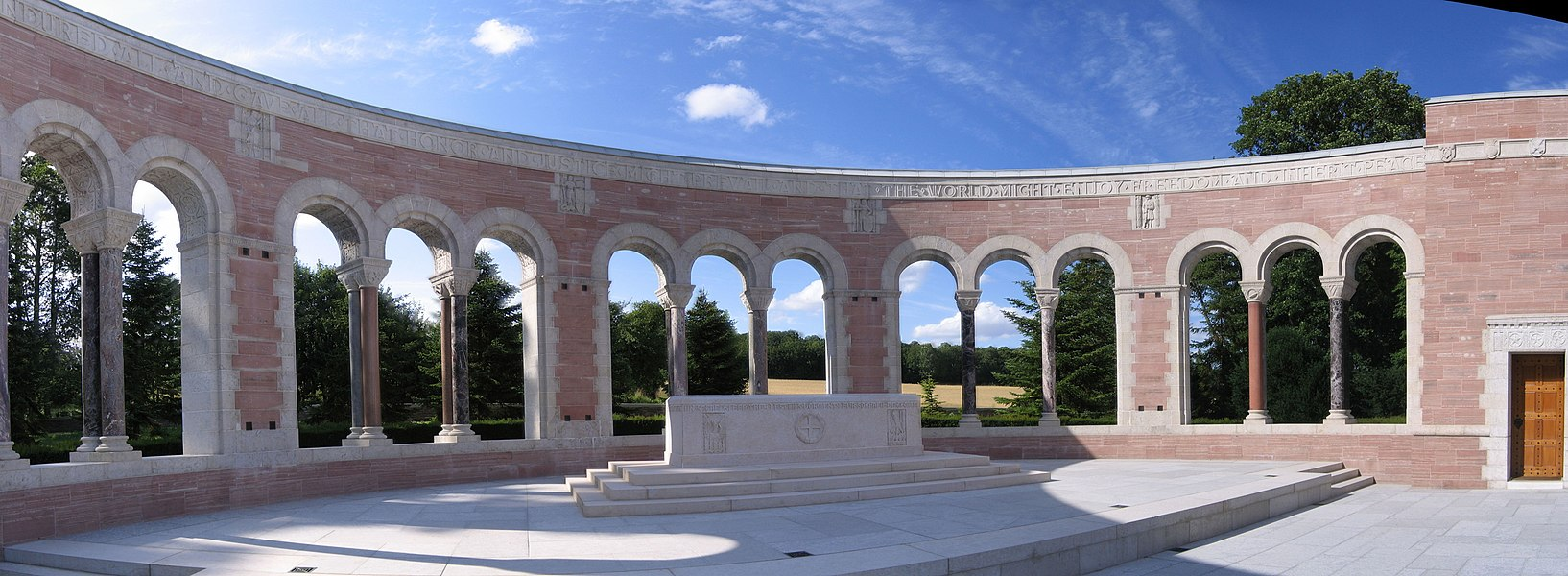 Memorial monument of Oise-Aisne American Cemetery in Seringes-et-Nesles, near Fère-en-Tardenois, France