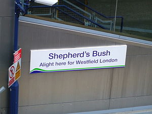 Shepherd's Bush railway station - Original Silverlink signage installed in 2007.
