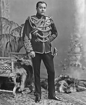 6th King Edward's Own Cavalry - Shri Sir Nripendra Narayan, Maharaja of Cooch Behar (1862-1911); seen here in 1896 in the dismounted review order uniform of a Major of the 6th (Prince of Wales's) Bengal Cavalry