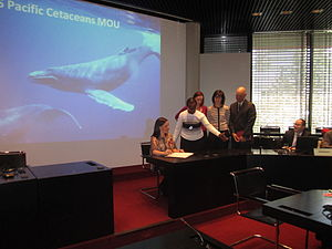 Pacific Islands Cetaceans Memorandum of Understanding - Signing of the Pacific Islands Cetaceans MoU by the United States (Shannon Dionne), Bonn, Germany, 27 September 2012