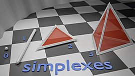 The four simplexes which can be fully represented in 3D space.