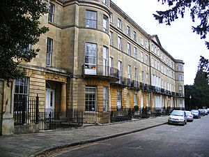 Sion Hill Place, Bath - Sion Hill Place with Summerhill at the near end