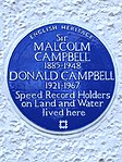 Sir MALCOLM CAMPBELL 1885-1948 DONALD CAMPBELL 1921-1967 Speed Record Holders on Land and Water lived here.jpg