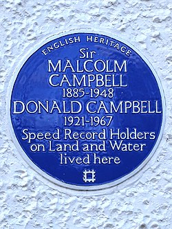 Photo of Malcolm Campbell and Donald Campbell blue plaque