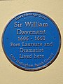 Sir William Davenant 1606 - 1668 Poet Laureate and Dramatist Lived here.jpg