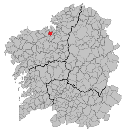 Location of Cambre within Galicia