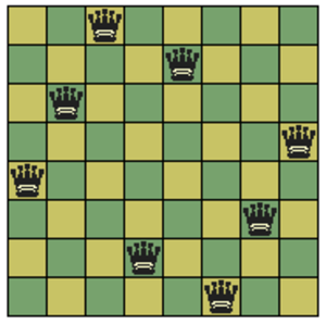Up to - A solution of the eight queens problem