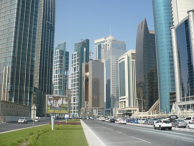 Skyscrapers along a road in Al Dafna.jpg