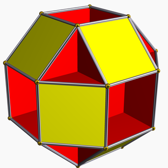 Antiparallelogram - The small rhombihexahedron. Slicing off any vertex of this shape gives an antiparallelogram cross-section as the vertex figure.