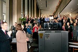 Frances Perkins Building - Interior of the building in 2009, as new Secretary Hilda Solis arrives