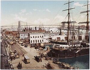 South Street Seaport - South Street and Brooklyn Bridge (c.1900)