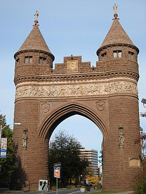 George Keller (architect) - Soldiers and Sailors Memorial Arch, Hartford, Connecticut (1884-86), south side. Keller's ashes are interred within the Memorial Arch.