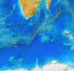 Southwest Indian Ridge - Topography of the SWIR.  White dots are hotspots, dashed lines are fracture zones.