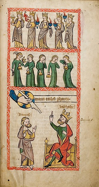 Ecclesia and Synagoga - Parable of the Wise and Foolish Virgins (top registers), Speculum Humanae Salvationis in Darmstadt, c. 1360