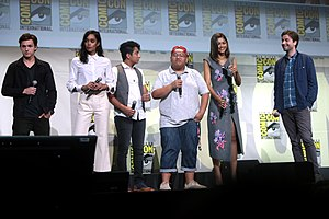 Spider-Man: Homecoming - (L:R) Tom Holland, Laura Harrier, Tony Revolori, Jacob Batalon, Zendaya and director Jon Watts promoting Spider-Man: Homecoming at the 2016 San Diego Comic Con International.
