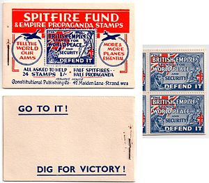 Cinderella stamp - Allied propaganda stamps for the World War II Spitfire Fund and the accompanying booklet.