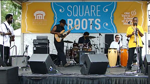 Lincoln Square, Chicago - A band performs at the annual Square Roots Festival held by the Old Town School of Folk Music.