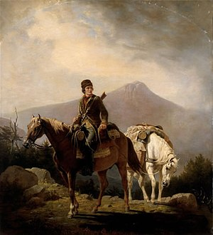 "Squire Boone - An 1852 painting titled, ""Squire Boone Crossing the Mountains with Stores for His Brother Daniel, Encamped in the Wilds of Kentucky"""