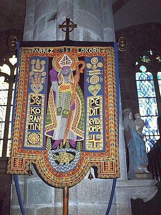 Le roi d'Ys - Banner of St Corentin in the parish church of Locronan.