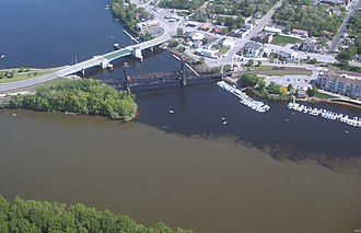 St. Croix River (Wisconsin–Minnesota) - Aerial photo near Prescott, Wisconsin, where the clearer waters of the St. Croix meet the muddier Mississippi River.