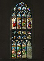 Stained glass window of right transept of Santi Giovanni e Paolo (Venice).jpg