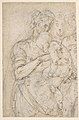 Standing Virgin with Child, Two Heads at Upper Right (recto); Sketch of Steps (verso) MET DP809774.jpg