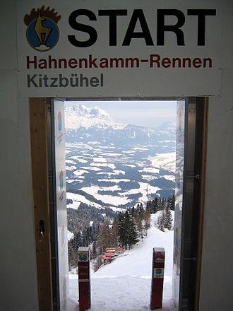 Hahnenkamm, Kitzbühel - Starting gate in 2004, view of Mausefalle and Kitzbüheler Horn