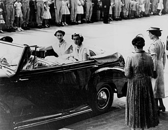 Lady Pamela Hicks - Image: State Lib Qld 1 167035 Queen Elizabeth II and her Lady in Waiting arrive at a Women's Reception at Brisbane City Hall, 1954