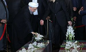 2017 in Iran - President Hassan Rouhani provides a tribute to the Tehran terrorist attack's victims during the 9 June 2017 funeral.