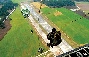 Static line - Military static line jump, from the rear of a C-130 Hercules