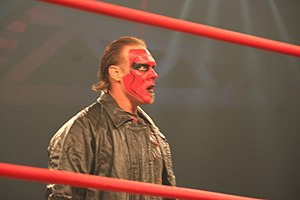 The Band (professional wrestling) - Sting with red face paint, similar to the paint he used during the Wolfpac