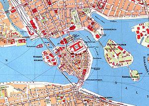 Slottets beliggenhed i Stockholm, kortet er fra 1920'erne