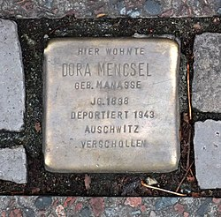 Photo of Dora Mencsel brass plaque