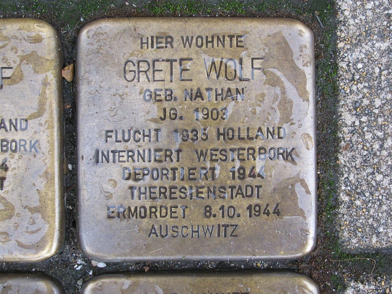 Stolperstein Grete Wolf, 1, Werner-Senger-Straße 19, Limburg an der Lahn, Landkreis Limburg-Weilburg.jpg