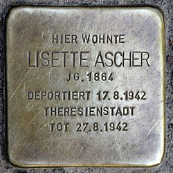 Photo of Lisette Ascher brass plaque
