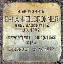 Photo of Erna Heilbronner brass plaque
