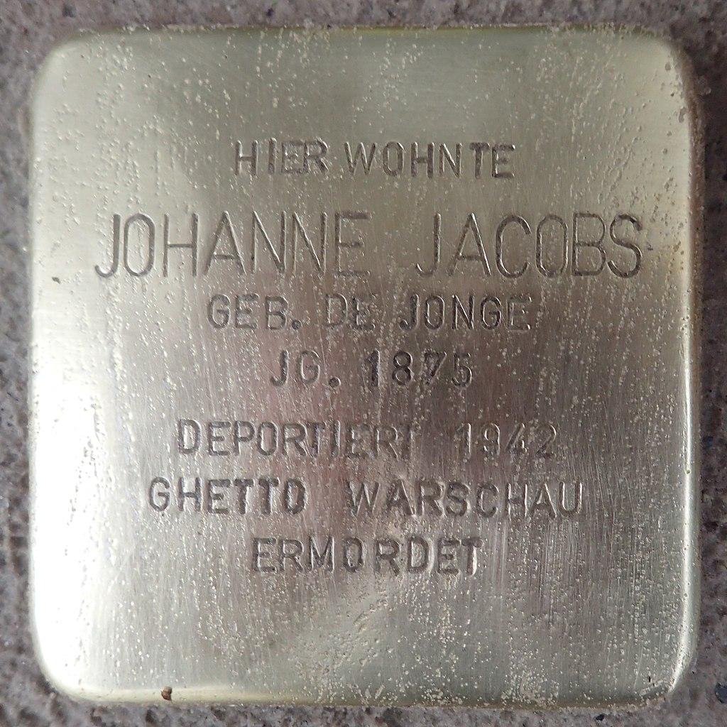 Stolperstein für Johanne Jacobs geb. de Jonge