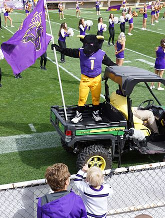 Minnesota State University, Mankato - Stomper the Maverick can be seen driving the crowd during school events