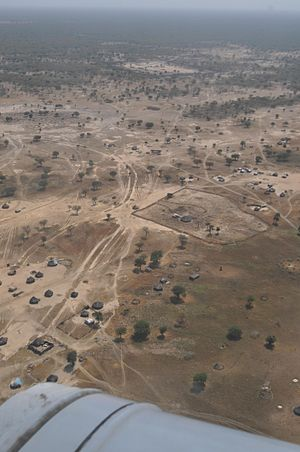 South Kordofan - A view of Abyei from a UN helicopter.