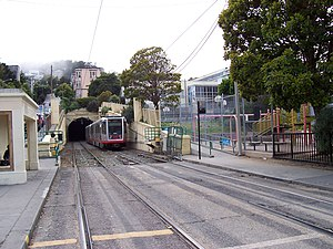 Sunset Tunnel - The N Judah entering the eastern portal of the Sunset Tunnel, in the Western Addition district.