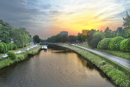 Sunset over the river Leie in Ghent Sunset over a canal in Ghent, Belgium.jpg